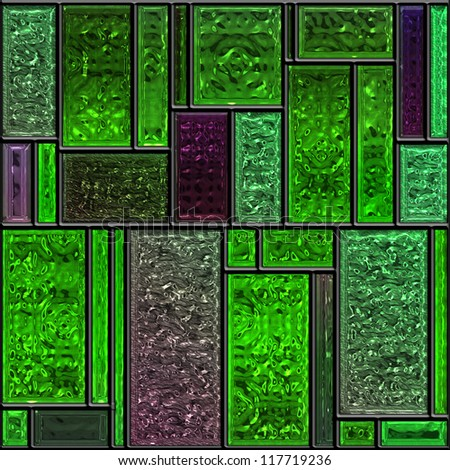 Seamless square green textured stained glass panel - stock photo