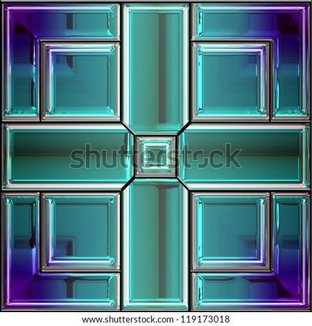 Seamless stained glass window in shades of blue