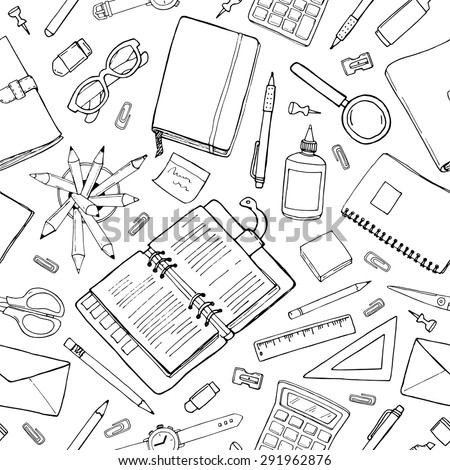 Seamless stationery pattern. Hand-drown black and white background. Doodle stylish office pattern - stock photo