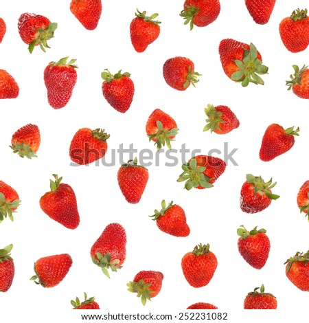 Seamless strawberry pattern, isolated on white background - stock photo