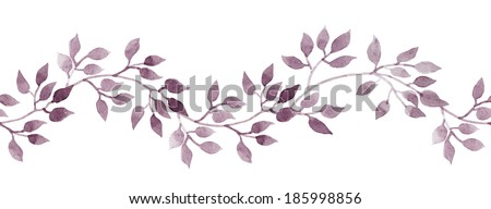 Seamless strip frame with hand painted pastel watercolor leaves. Repeated pattern. - stock photo