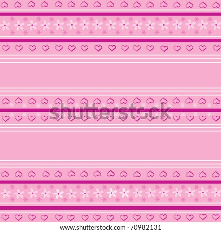Seamless striped background with hearts
