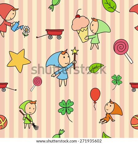Seamless striped fairy children pattern. - stock photo