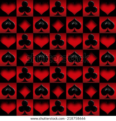 seamless suit cards - Red and black