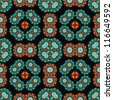 Seamless symetric caleidoscope cube green turquoise red and black pattern - stock photo