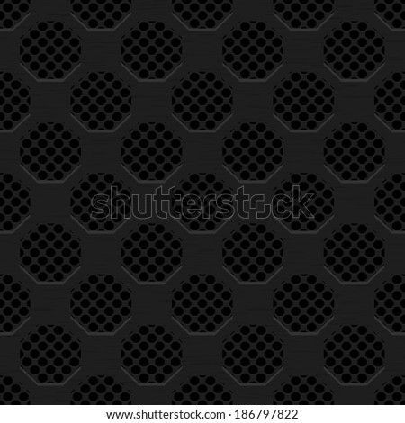 Seamless texture black metal surface dotted octagon perforated background, bitmap copy. - stock photo