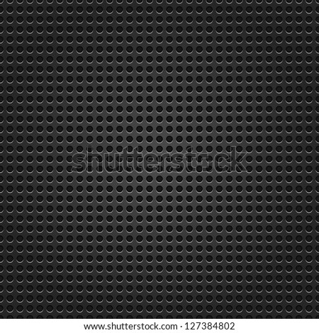 Seamless texture black metal surface dotted perforated background. This image for clip-art design element is a bitmap copy of my vector illustrations. - stock photo