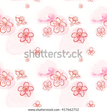 Seamless texture. Graphical representation of the cherry blossoms on watercolor mug. Located on a white background. Pink. - stock photo