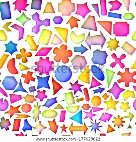 Seamless texture of abstract bright shiny colorful geometric shapes, Isolation on a white background