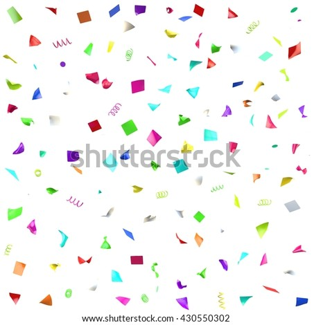 Seamless texture of colorful festive confetti. White isolated background. 3D illustration