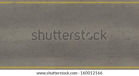 Seamless texture of grey, slightly worn road with yellow stripes. - stock photo
