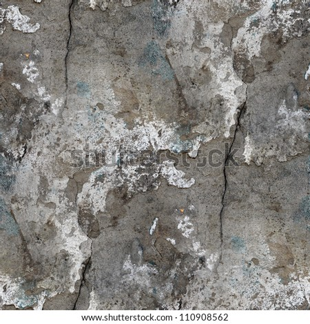seamless texture of old stone wall with a crack background - stock photo