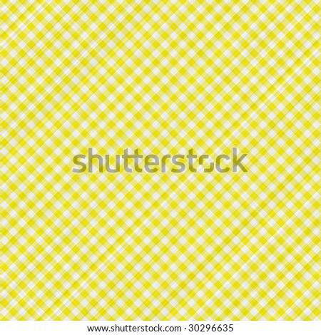 seamless texture of yellow and white blocked tartan cloth - stock photo