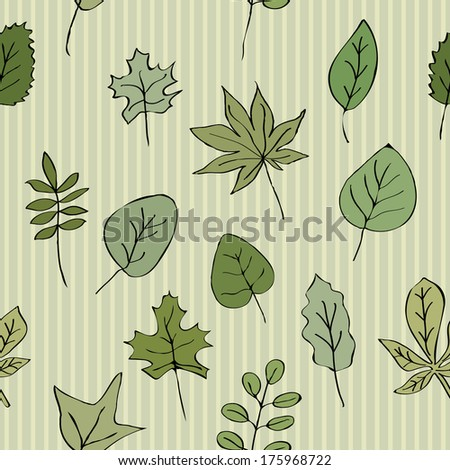 Seamless texture pattern of green leaves striped background. Use as a pattern fill, backdrop, surface texture - stock photo