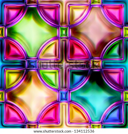 Seamless texture stained-glass window (See more seamless backgrounds in my portfolio) - stock photo