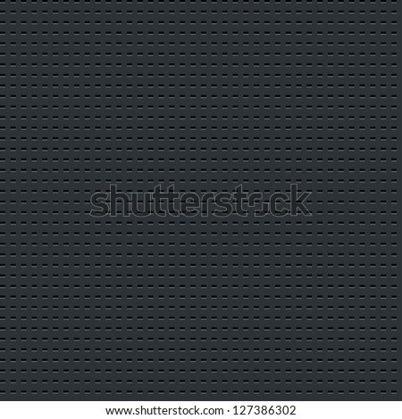 Seamless texture subtle pattern perforated metal tile surface with rectangle hole dark gray background. Contemporary swatch simple modern style. This image is a bitmap copy my vector illustration - stock photo