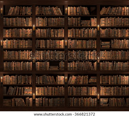 Seamless texture (vertically and horizontally). Vintage Books. Two-storied Bookshelf background. Mysterious library with candle lighting.  - stock photo