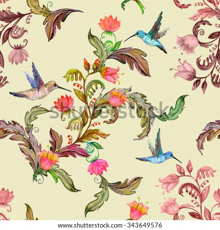 seamless texture with beautiful tropical flora and birds. watercolor painting - stock photo