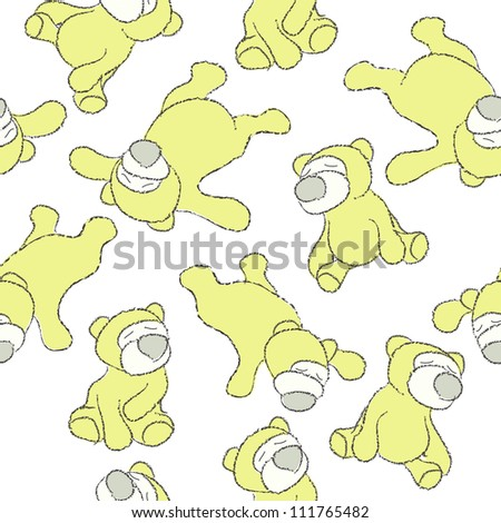 Seamless texture with teddy bears - stock photo