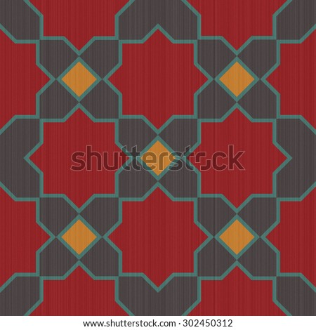 Seamless textured design mosaic of colorful tiles pattern in red yellow gray and blue. - stock photo