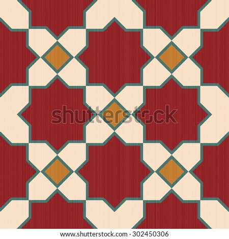 Seamless textured design mosaic of colorful tiles pattern in red yellow white and blue. - stock photo