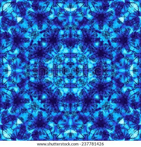 seamless tie and dye indigo blue pattern background. - stock photo