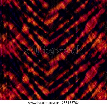 seamless tie dye pattern that reminds of tiger skin stripes. dark jungle colors. - stock photo
