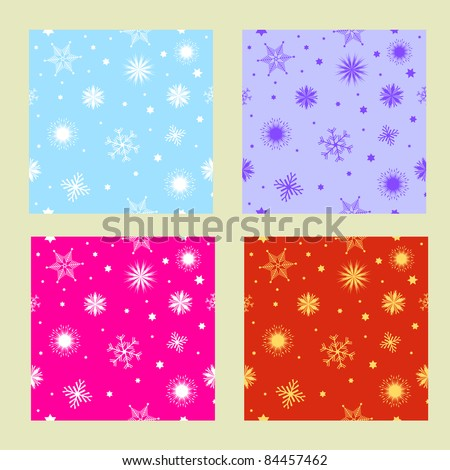 Seamless tiling colorful Christmas textures with snowflakes and stars - stock photo