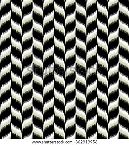 Seamless tribal chevron pattern. Great interior or fabric texture in black, white and natural grey colors. - stock photo
