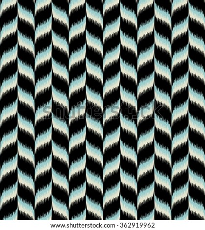 Seamless tribal chevron pattern. Great interior or fabric texture in light blue, black and natural grey colors. - stock photo