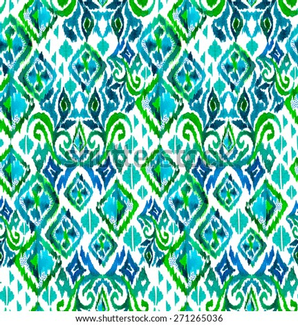 seamless tribal pattern with ikat motives. very detailed mosaic design with mixed elements and textures. latino ceramics style. - stock photo