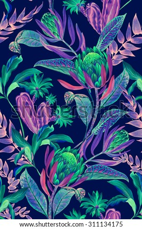 Seamless Tropical Floral Pattern Rare Jungle Flowers And Plants Dark Neon Colors Beautiful