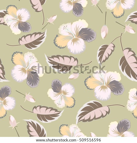 Seamless tropical flower, neutral hibiscus pattern. Seamless pattern