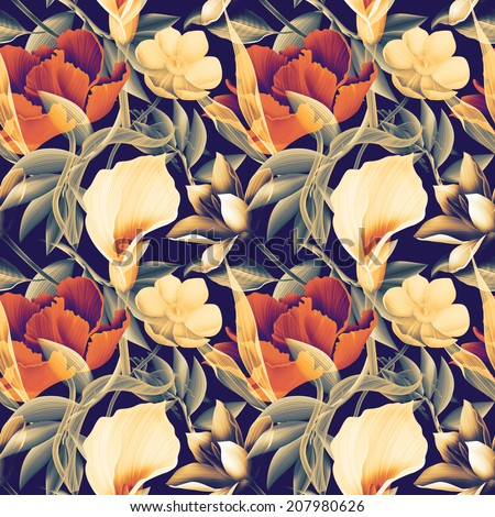 Seamless tropical flower, plant and leaf pattern background, in Hawaiian style - stock photo