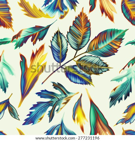 Seamless tropical flower, plant and leaf pattern background, retro botanical style. Stylish flowers print - stock photo