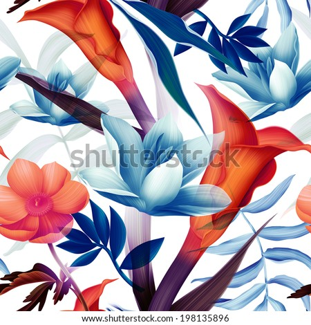 Seamless tropical flower, plant colorful pattern background - stock photo
