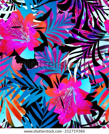 seamless tropical flower print with double exposure. exotic flowers peeking in a floral cut out silhouette. mosaic of flowers, gradients, and foliage on black background. - stock photo