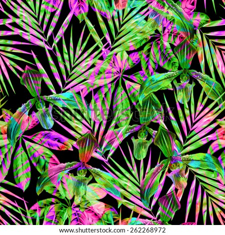 seamless tropical pattern with double exposure. cutout motifs of exotic flora collide and overlap with each other. very colorful and vibrant. - stock photo