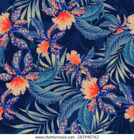 Seamless  tropical pattern with double exposure effect. exotic lilies, orchids and palms in vintage style illustration, overlapping and creating silhouettes and shadows. stylish fashion pattern.  - stock photo