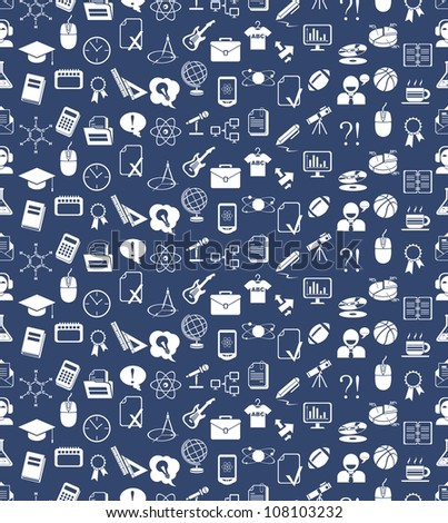 seamless vector education icons background blue and white. Vector version also available in portfolio - stock photo
