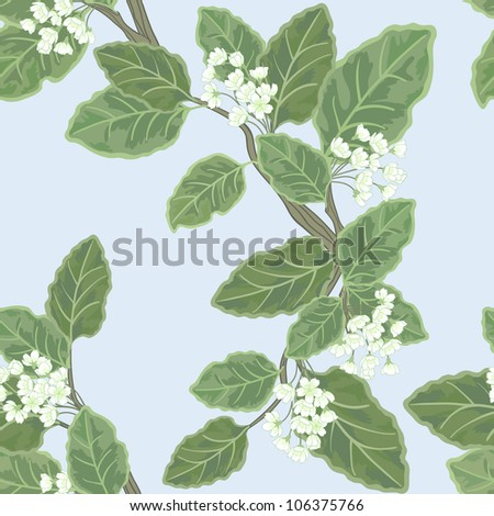 Seamless vector floral pattern with flowering branch - stock photo