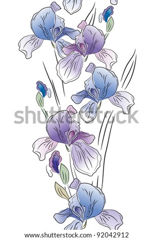Seamless vertical border with blue irises on white. Raster version. - stock photo