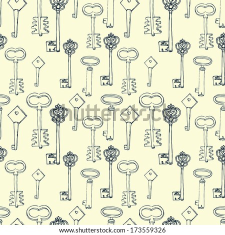 seamless vintage background with keys