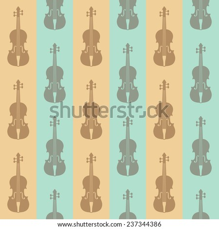 seamless vintage background with violins  - stock photo
