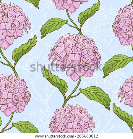 Seamless vintage floral pattern with beautiful hydrangea flowers - stock photo