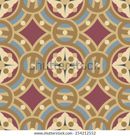 Seamless vintage ornamental tile pattern #1 in ocher, brown, black, red, blue colors. The main element is a flower in circles. - stock photo
