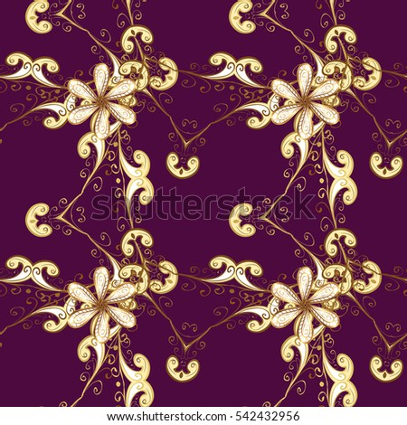 Seamless vintage pattern on purple background with golden elements. New Year, Christmas, Snowflake. Raster.