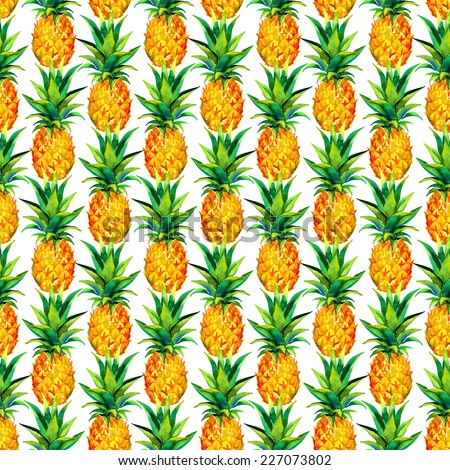 Seamless Vintage Pop Art Pineapple Pattern For Fashion And Wallpaper Watercolor Drawing On White