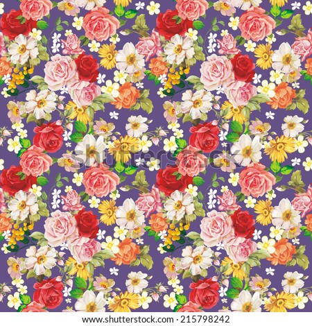 Seamless vintage romantic pattern. Beautiful flower illustration texture - stock photo