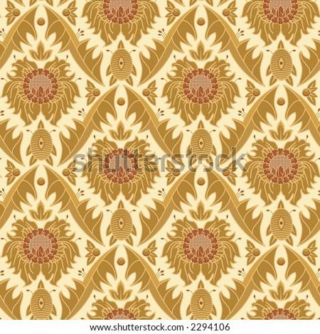 Seamless Vintage Wallpaper Pattern - stock photo